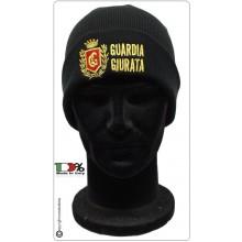 Berretto Zuccotto Papalina Watch Cap Invernale con Ricamo Guardia Giurata Logo Rosso Art.CAP-GG