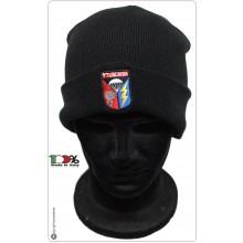 Berretto Zuccotto Papalina Watch Cap 帽子 Hut Invernale Nero con Ricamo Paracadutisti Carabinieri Tuscania  Art.TUS-PAR-CC