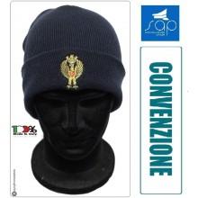 Berretto Papalina Cuffia Watch Cap Zuccotto Ricamo Blu Nevy Polizia di Stato PS PREZZO RISERVATO SAP  Art.SAP-W