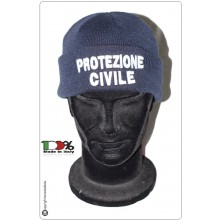 Berretto Zuccotto Papalina Watch Cap Invernale con Ricamo Protezione Civile in Bianco Art.CP-PC-B
