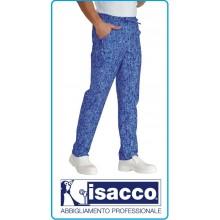 Pantalaccio Pantaloni Coulisse Unisex Cuoco Chef Pasticcere NEW YORK Blu Bianco Isacco Art.044675