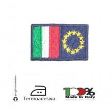 Patch Toppa Ricamata a macchina Termoadesiva Italia Europa 4.00x2.50  Art.IT-EU