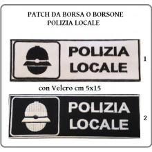 Patch Toppa Ricamo Con Velcro cm 5,00x15,00  POLIZIA LOCALE  Art.NSD-PL15X5