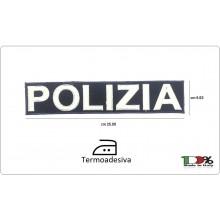 Patch Toppa Ricamata Termo Adesiva Termoadesiva POLIZIA cm 25.00x5.00 Art.PS-XXL