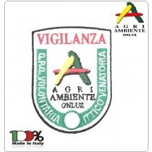 Patch Toppa Ricamata con Velcro GPG VOLONTARIA ITTICO VENATORIA AGRIAMBIENTE ONLUS VIGILANZA cm 3x10 Art.AGRI-12