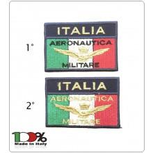 Patch Toppa Rettangolare con Velcro Ricamato ITALIA + LOGO Brevetto Aeronautica Militare Italiana  Art.IT-AERO-1