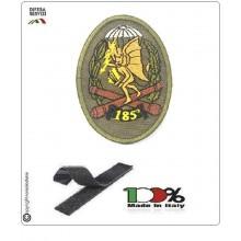 Patch Toppa Ricamata con Velcro Folgore Scudetto 185° Reggimento Diavoli Gialli Verde OD Art.P-T-5