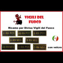 Gruppo Sanguigno Su Velcro Vigili Del Fuoco New 5x2Art.NSD-NEW