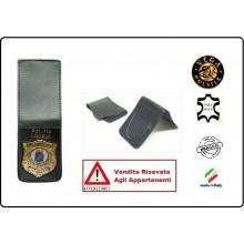 Patella pelle + Fregio per portafogli 1WE Polizia Locale Vega Holster Italia Art.1WH113