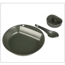 Piatto Posate e Bicchiere Campeggio Survival PATHFINDER KIT WILDO® 3-TLG.KST.OLIV Art.14673001