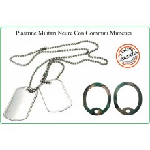 Piastrine Americane US Originali Colore Accaio Con Silenziatore Mimetici Dog Tags Kit Neutre Art.27436B