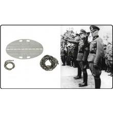 Set Piastrina Militare TEDESCA in Metallo con Catenelle - Collana Dog Tags  Mil Tec  Art.16310000