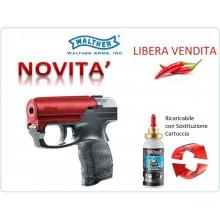 PDP Pistola Spray al Peperoncino NERA + ROSSO  RICARICABILE Walther Difesa Personale Libera Venita e Libero Trasporto Art.UM-2-2050