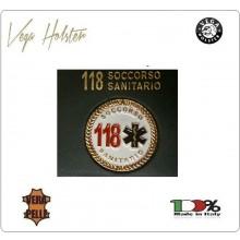 Placca con Supplacca Cuoio Da Inserire Al Portafoglio Soccorso Sanitario 118 1WG Vega Holster Italia Art. 1WG-55