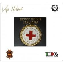 Placca con Supporto Cuoio Da Inserire Al Portafoglio Croce Rossa Italiana CRI C.R.I. 1WG Vega Holster Italia Art. 1WG-08