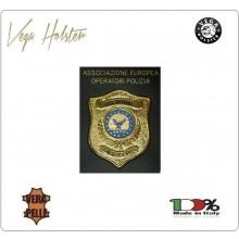 Placca con Supporto Cuoio Da Inserire Al Portafoglio A.E.O.P. Ass. Europea Operatori Polizia 1WG Vega Holster Italia Art. 1WG-AEOP-New