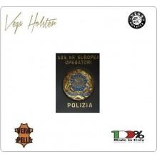 Placca con Supporto Cuoio Da Inserire Al Portafoglio A.E.O.P. Ass. Europea Operatori Polizia 1WG Vega Holster Italia Art. 1WG-122