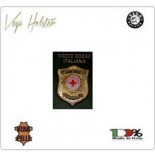 Placca con Supporto Cuoio Da Inserire Al Portafoglio C.R.I. Croce Rossa Italiana  1WG Vega holster Italia Art. 1WG-117