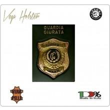 Placca con Supporto Cuoio Da Inserire Al Portafoglio Guardie Giurate Vega Holster Italia 1WG Art.1WG-110