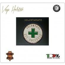 Placca con Supporto Cuoio Da Inserire Al Portafoglio Volontario Croce Verde 1WG Vega holster Italia  Art. 1WG-56