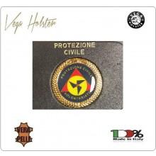 Placca con Supporto Cuoio Da Inserire Al Portafoglio Protezione Civile Volontari 1WG Vega Holster Italia Art. 1WG-35
