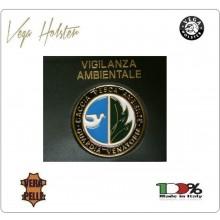 Placca con Supporto Cuoio Da Inserire Al Portafoglio Polizia Ambientale Caccia Pesca 1WG Veaga Holster Italia Art. 1WG-95