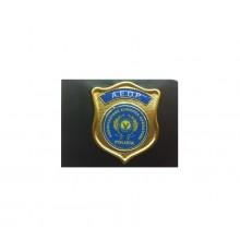 Placca con Supporto Cuoio Da Inserire Al Portafoglio Associazione Europea Polizia A.E.O.P.  AEOP 1WG Art. 1WG-AEOP