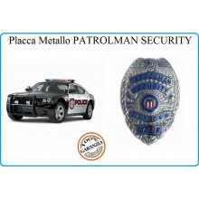 Placca Metallo Badge Patrolman Security Officer Calif  Argento cm 6.00x8.00 Art.441054-1279