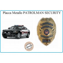 Placca Metallo Badge Patrolman Security Officer Calif  Oro Gold cm 6.00x8.00 Art.441054-1278