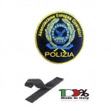 Ricamo Patch Grande con Velcro A.E.O.P. Associazione Europea Operatori Polizia cm 10 Art.TUS-19