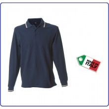 Polo Manica Lunga Blu  Modello Italia Neutra New Genova Blu Nevy Art.989800