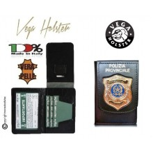 Portafoglio Portadocumenti in Vera Pelle con Placca Metallo Polizia Provinciale Vega Holser Italia Art. 1WD146