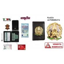 Portafoglio Porta Placca Vera Pelle Portadocumenti Guardia di Finanza Tutto Nero Ascot Italia New Art. 600GDF