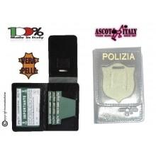 Portafoglio Porta Placca Vera Pelle Portadocumenti Polizia di Stato con Stampa POLIZIA PS Ascot Italia New LIBERA VENDITA Art. 600PS-02
