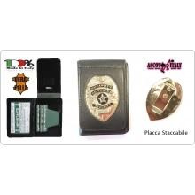 Portafoglio Portadocumenti Pelle con Placca Estraibile Security Service Guardie Giurate Ascot New Art.600PP