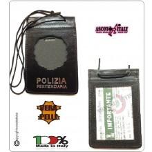 Porta Placca Portaplacca da Collo per Polizia Penitenziaria Operativi SENZA PLACCA LIBERA VENDITA Ascot Italia Art.602PP