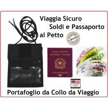 Portafoglio Portadocumenti da Collo Viaggio Escursione Tempo Libero Nera MFH Art.30930A