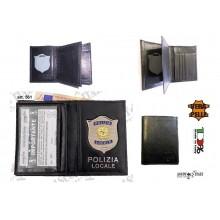 Portafoglio Portadocumenti Pelle Apertura a Libro POLIZIA LOCALE RI Modello Plus Ascot VENDITA RISERVATA Art. 561-AS45
