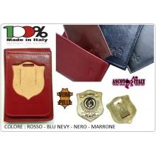 Portafoglio Pelle Portadocumenti Con Placca Estraibile Guardie Giurate Ascot Italia New Blu - Nero - Rosso - Marrone  Art.600GG