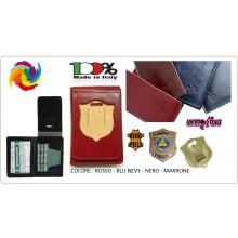 Portafoglio Pelle Portadocumenti Con Placca Estraibile Protezione Civile Ascot Italia New Blu - Nero - Rosso - Marrone  Art.600PC