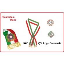 Fascia Sindaco Cerimonia Ricamata a Mano Repubblica + il logo del Comune Personalizzata Art.NSD-F-SINDACO