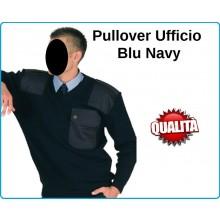 Pullover Maglione Ufficio Collo a V  Blu Notte Navy Marina Security Vigilanza  Art.131335B