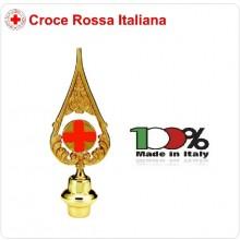 Lancia Puntale Ottone per Aste Porta Bandiera Croce Rossa Italiana CRI  C.R.I. Art.BRK-CR