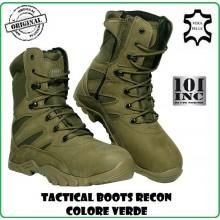 Anfibi Stivaletto Stivale Scarponcino Verdi Pelle Cordura Tactical Boots Recon 101 INC Militare Esercito Marina Parà Soft Air Caccia Art.231175V