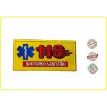 Patch Toppa Ricamo Giallo 118 Soccorso Sanitario con Velcro Art.NSD-118-G