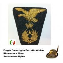 Fregio Canuttiglia  Amministrazione  Alpino Dorato Ricamato a Mano Art.NSD-Alpini-AM