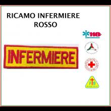 Patch Ricamata Infermiere Rosso-Giallo con Velcro Art.NSD-INF-RG