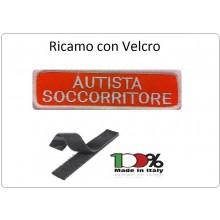 Patch Ricamata Autista Soccorritore con Velcro Fondo Arancio  Art.NSD-AS-AR