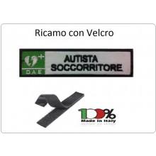 Patch Toppa Ricamata Bianco D.A.E. + AUTISTA SOCCORRITORE Art.DAE-5