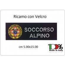 Patch Toppa Ricamata Con Velcro cm 5,00x15,00 SOCCORSO ALPINO  NEW Art.15-5-SA